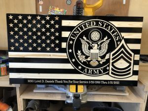 "Wooden Carved American Military Flag Black and Natural Gloss 30"" x 16"""