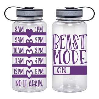 Water Tracker - Beast Mode On Sports Water Bottle 34 Oz Workout Hydration