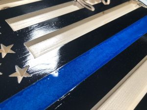 Wooden Carved United States Shaped Flag Thin Blue Line