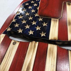 Wooden American Flag Ironman Helmet