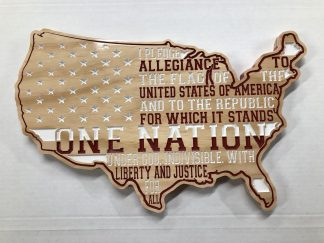 Wooden Carved United States Shaped Flag Pledge of Allegiance