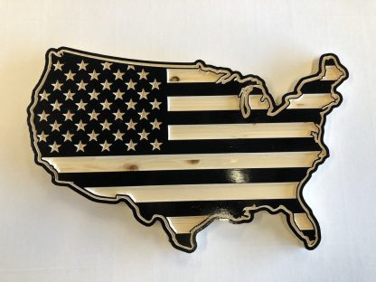Wooden Carved United States Shaped Flag