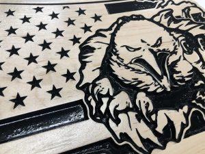 Wooden Carved United States Shaped Flag Eagle Bursting Through