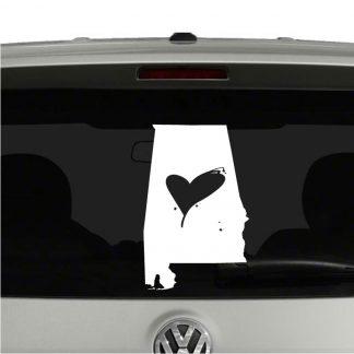Love Alabama State Heart Vinyl Decal Sticker