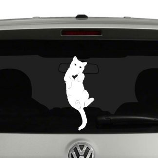Cat Kitten Laying On Back Heart Cut Out Cat Lovers Vinyl Decal Sticker