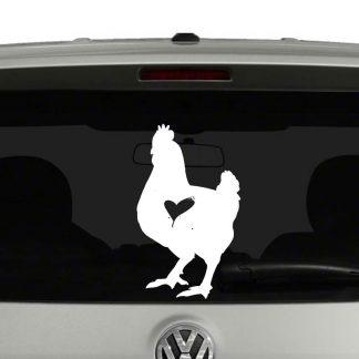 Chicken Lovers Chicken with Heart Vinyl Decal Sticker