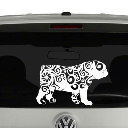 English Bulldog Lovers Mandala Puppy Vinyl Decal Sticker