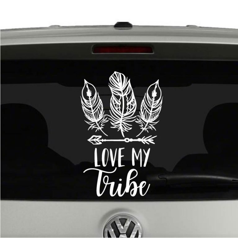 Love My Tribe Boho Family Feathers Arrows Vinyl Decal Sticker