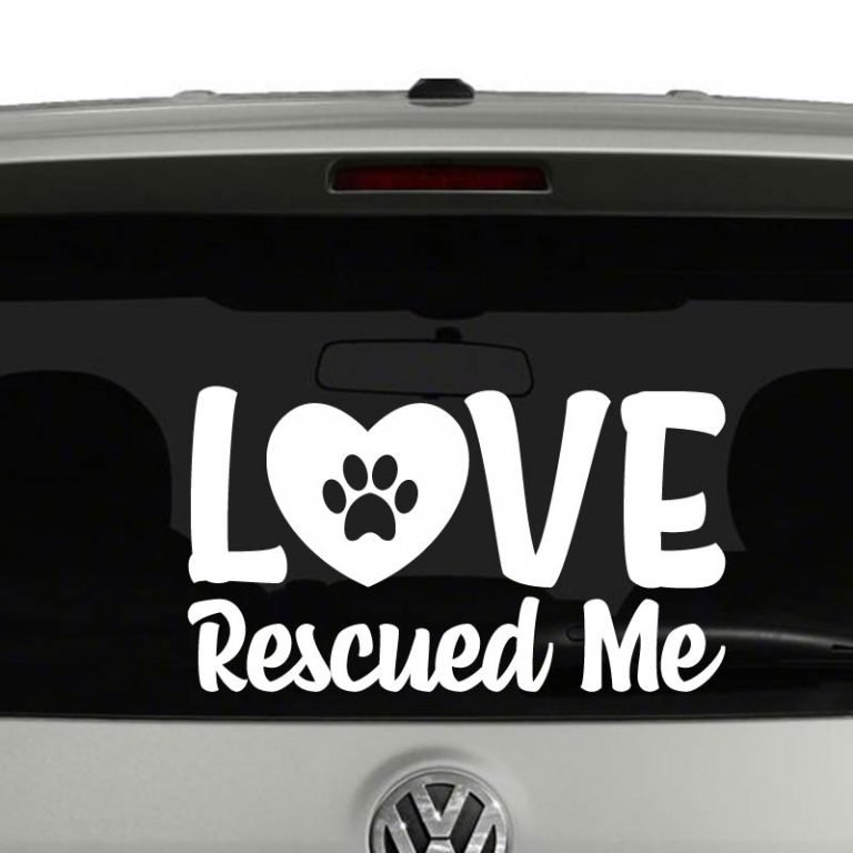 Love Rescued Me Paw Print Cat Dog Rescue Vinyl Decal Sticker