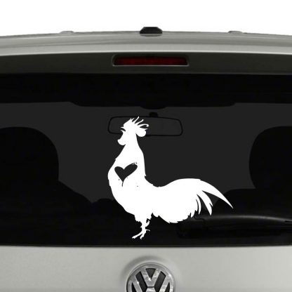 Rooster Chicken Lovers Rooster Heart Vinyl Decal Sticker