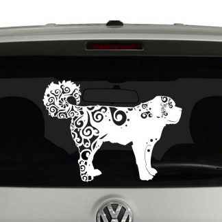 St Bernard Lovers Mandala Puppy Vinyl Decal Sticker