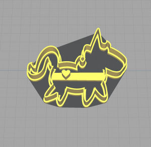 Baby Unicorn Shaped Cookie Cutter with Heart Tattoo