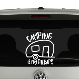 Camping is My Therapy Camper Trailer Vinyl Decal Sticker