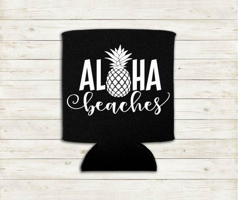 Aloha Beaches With Pineapple Word Play Hawaiian Can Cooler Koozie Premium Neoprene Foam