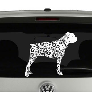 Boxer Dog Lovers Mandala Puppy Vinyl Decal Sticker