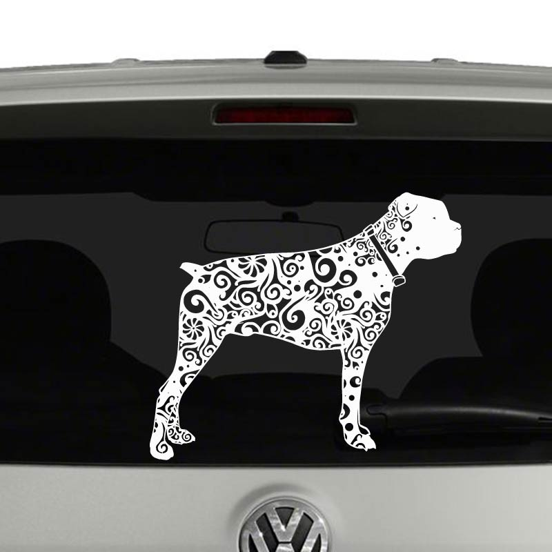 Boxer Dog Lovers Mandala Puppy Vinyl Decal Sticker