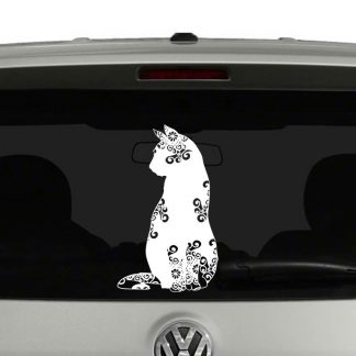 Cat Lovers Sitting Cat Mandala Kitten Vinyl Decal Sticker