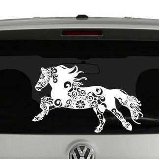 Horse Lovers Running Galloping Horse Mandala Vinyl Decal Sticker