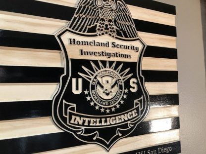 Wooden Carved American Flag Homeland Security Investigations Badge