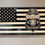 Wooden Carved American Flag Homeland Security Investigations Badge