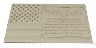 Wooden Carved American Flag We The People of the United States