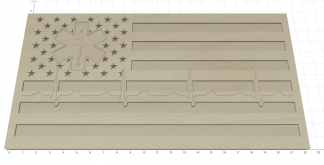 Wooden Carved American Flag Medical EMT Nurse Doctor EKG
