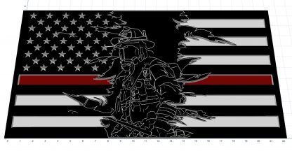 Wooden Carved American Flag Firefighter Fireman Tattered Flames Thin Red Line