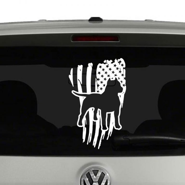 Pitbull Silhouette with Distressed American Flag Vinyl Decal Sticker