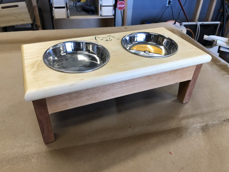 Cat or Small Dog Feeding Station Cherry and Maple Hand Crafted