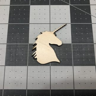 Unicorn Head - Laser Cut Out Unfinished Wood Shape Craft Supply
