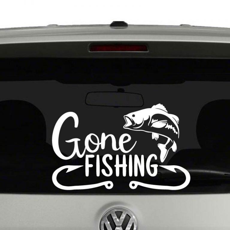 Gone Fishing Fish Lovers Vinyl Decal Sticker