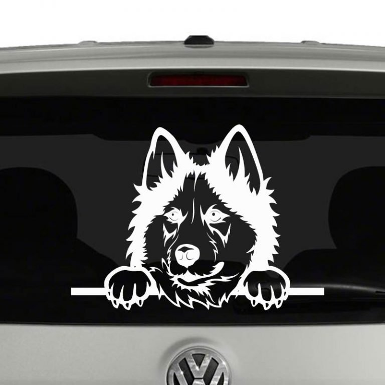Siberian Husky Dog Peeking Vinyl Decal Sticker