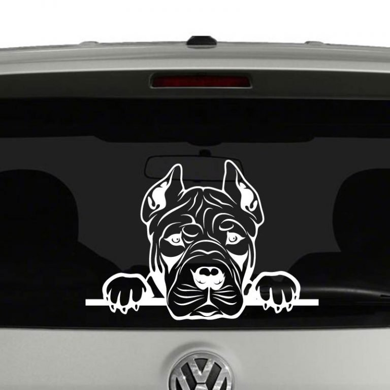 American Pit Bull Dog Peeking Vinyl Decal Sticker
