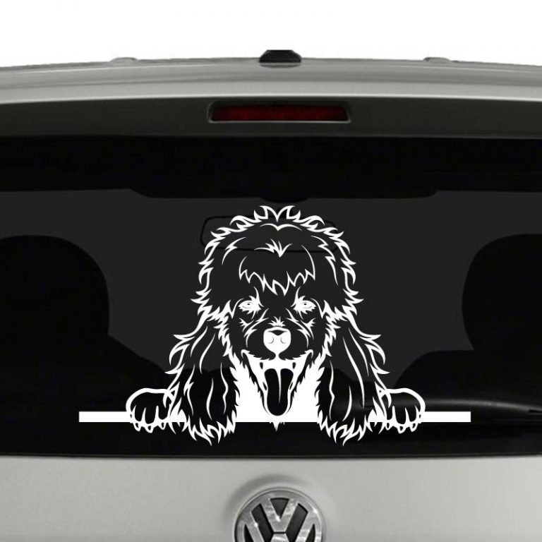 Poodle Dog Peeking Vinyl Decal Sticker