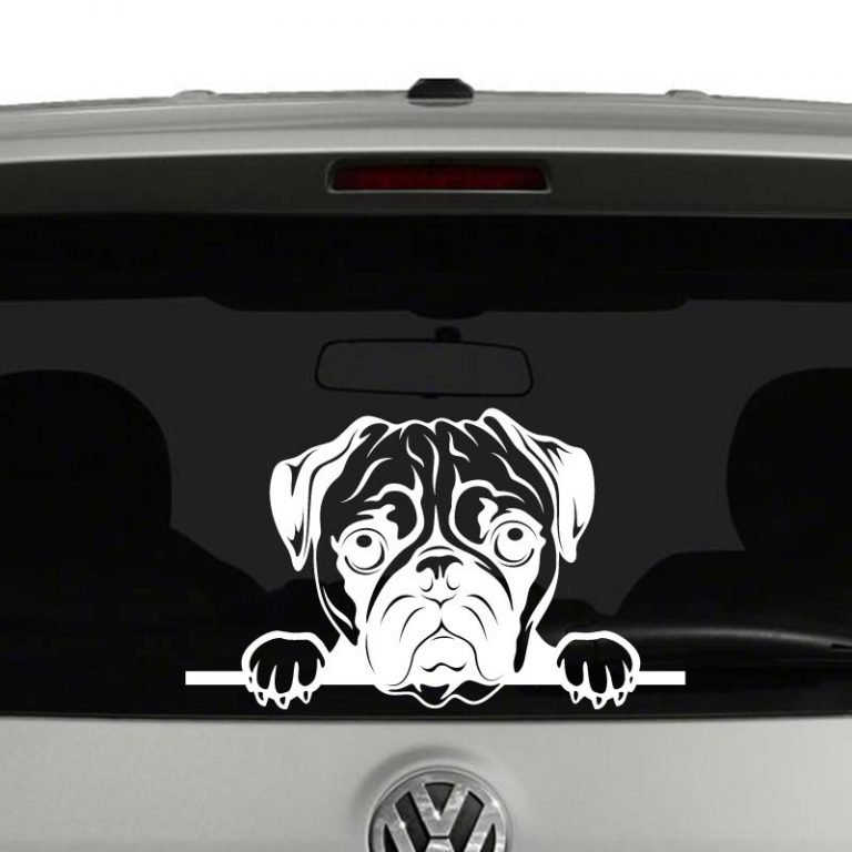 Pug Dog Peeking Vinyl Decal Sticker