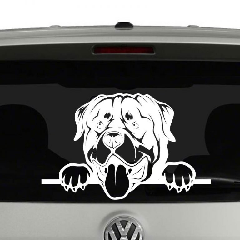 Rottweiler Dog Peeking Vinyl Decal Sticker