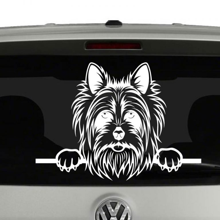 Yorkshire Terrier Dog Peeking Vinyl Decal Sticker
