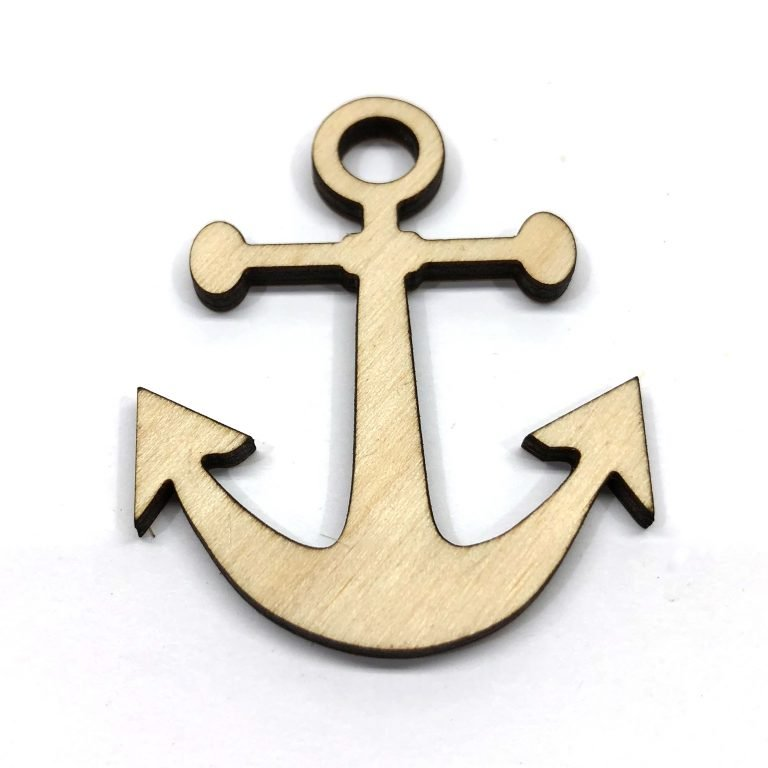 Anchor Navy - Laser Cut Out Unfinished Wood Shape Craft Supply