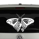 Butterfly Awareness Ribbon Mandala Vinyl Decal Sticker