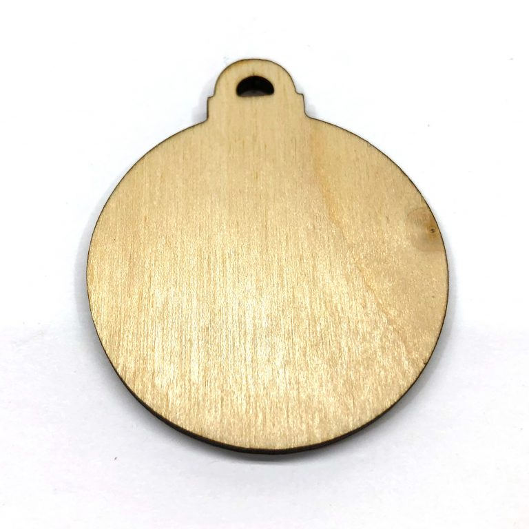 Christmas Ball Ornament - Laser Cut Out Unfinished Wood Shape Craft Supply