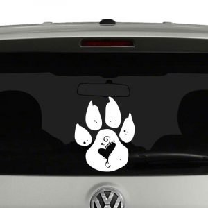 Dog Paw with Heart Dog Lovers Vinyl Decal Sticker