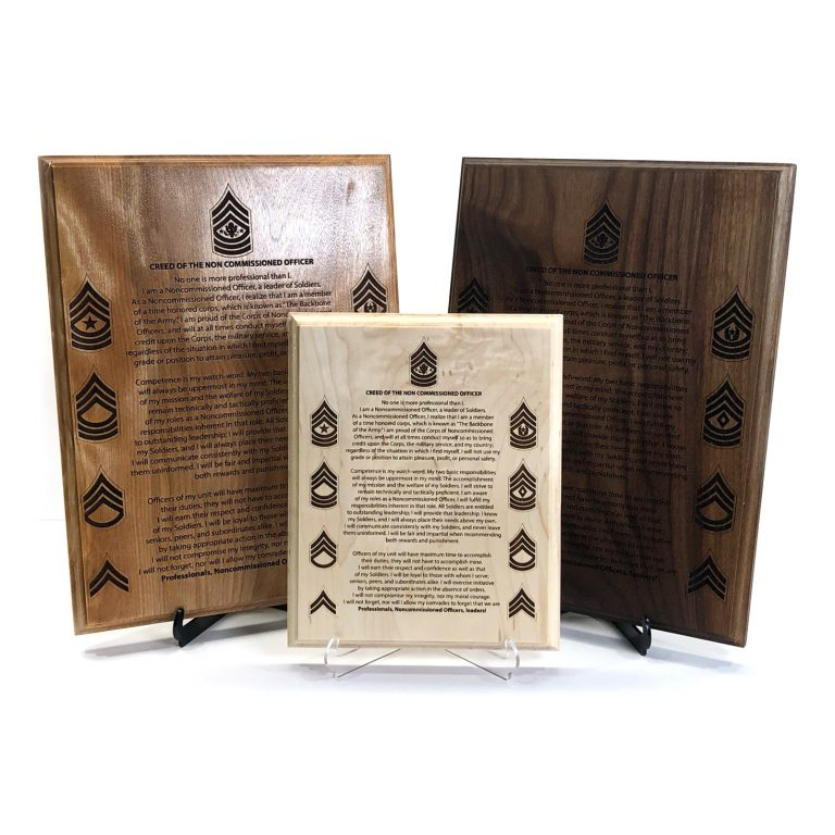 Army NCO Creed Plaque Customized and Laser Engraved