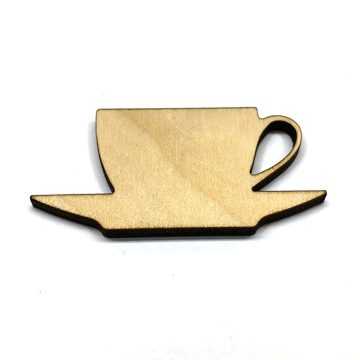 Tea Cup and Saucer - Laser Cut Out Unfinished Wood Shape Craft Supply