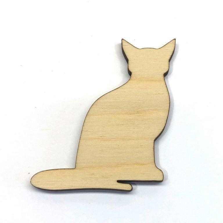 Cat Sitting Kitten Kitty - Laser Cut Out Unfinished Wood Shape Craft Supply