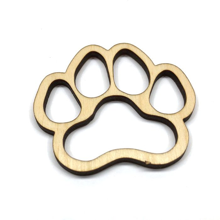 Dog Paw Print Puppy - Laser Cut Out Unfinished Wood Shape Craft Supply