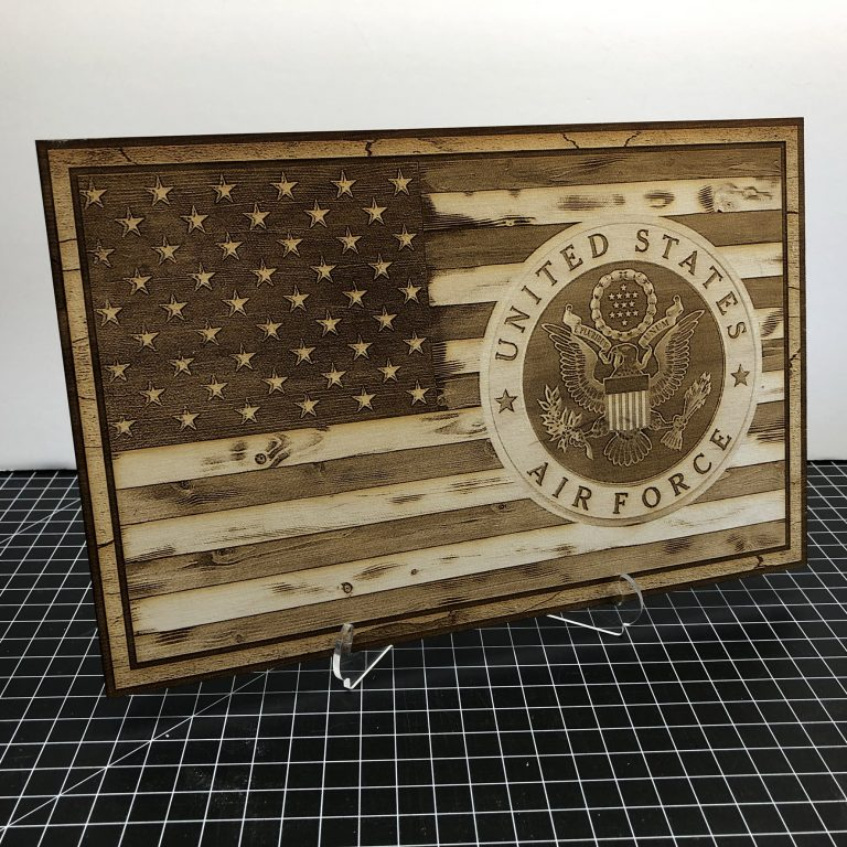 American Flag with Air Force Emblem - Laser Engraved Sign