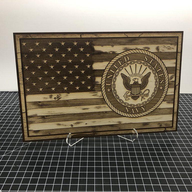 American Flag with Navy Emblem - Laser Engraved Sign