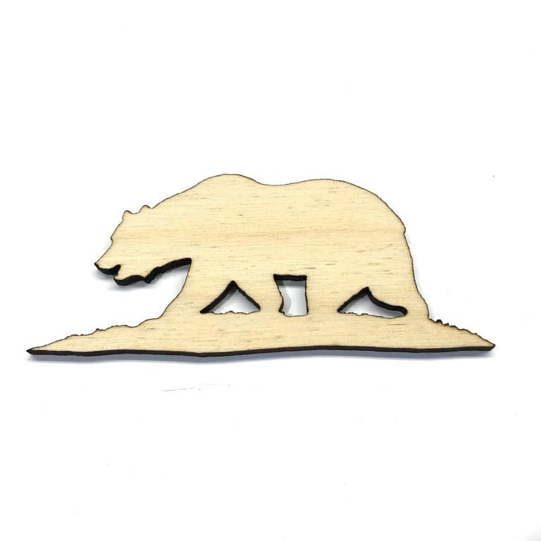 California Bear - Laser Cut Out Unfinished Wood Shape Craft Supply