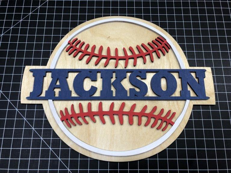 Split Baseball Name Sign Laser Cut Crafting Kits