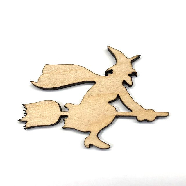 Flying Witch on Broomstick Halloween Laser Cut Unfinished Wood Shape Craft